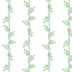 Modish blushing rose coordinate - ribbon entwined leaves