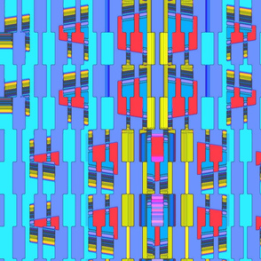 abstract rectangles in blue, red and yellow
