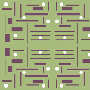 purple rectangles on green background  with white dots