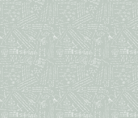 Math class notes - GREY fabric by happysewlucky on Spoonflower - custom fabric