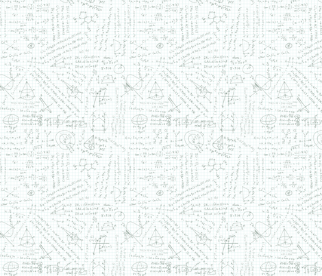 Math class doodles - Grey on Blue lines fabric by happysewlucky on Spoonflower - custom fabric