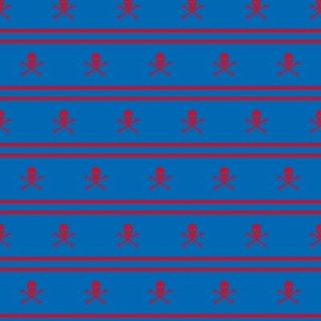 red Skull and Crossbones and Cross Stripes on blue