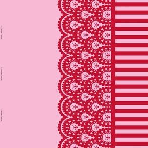 Red Skull and Crossbones Lace Border and Pink and Red 1/2 inch Stripe