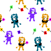Lion & flowers