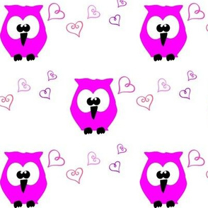 Pink Owl & Hearts