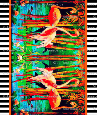 Flamingo border fabric