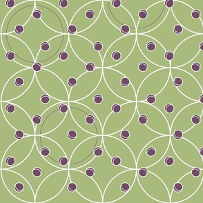 Polka Green with White & Purple Detail