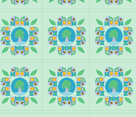 My Family Tree Flowers fabric by tylerstrain on Spoonflower - custom fabric