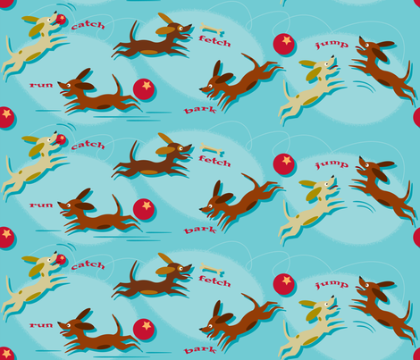 Run, Catch and Fetch (on blue) fabric by retrorudolphs on Spoonflower - custom fabric
