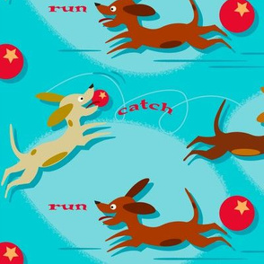 Run, Catch and Fetch (on blue)