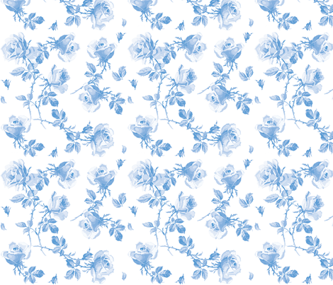 Blue Hampton Roses in Blueberry Blue fabric by lilyoake on Spoonflower - custom fabric