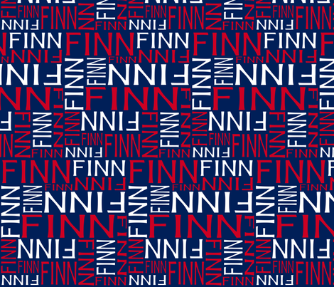 Personalised Name Fabric - Red White Navy
