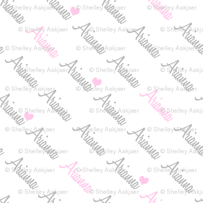 Personalised Name Fabric - Diagonal Pink Grey