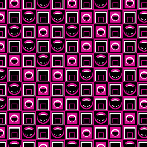 Little Kitty Geometric in Fuchsia fabric by lovekittypink on Spoonflower - custom fabric
