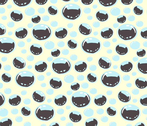 Kitty Bubbles fabric by lovekittypink on Spoonflower - custom fabric