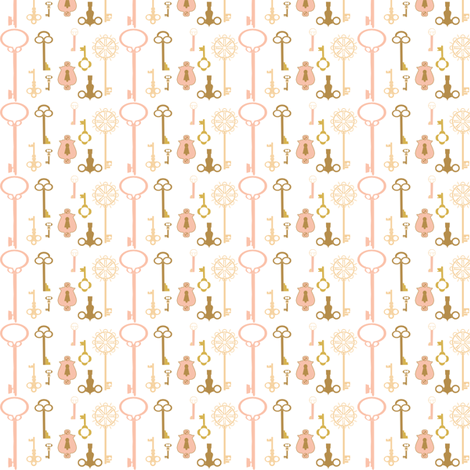 Keys pink fabric by handmaid on Spoonflower - custom fabric