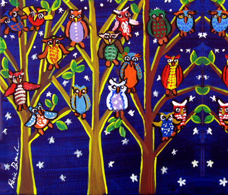 Owl Party   IMG_5302 fabric by reniebritenbucher on Spoonflower - custom fabric