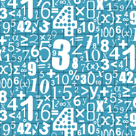 numbers (white on blue) fabric by scrummy on Spoonflower - custom fabric