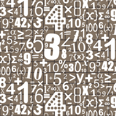 numbers (white on chocca) fabric by scrummy on Spoonflower - custom fabric