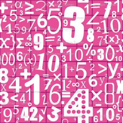 numbers (white on pink)