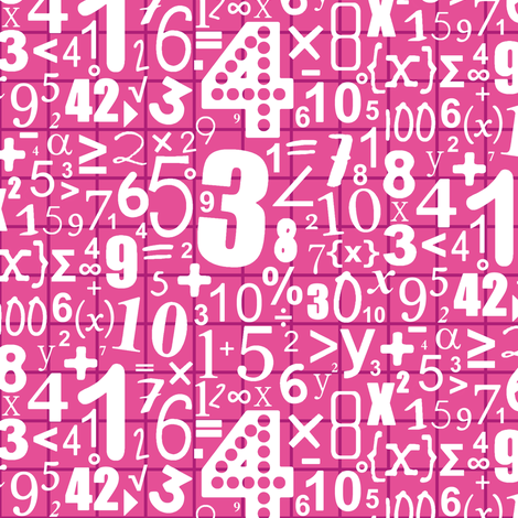 numbers (white on pink) fabric by scrummy on Spoonflower - custom fabric