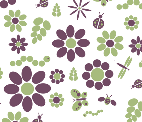 flowerandbugs large scale fabric by nicholeann on Spoonflower - custom fabric