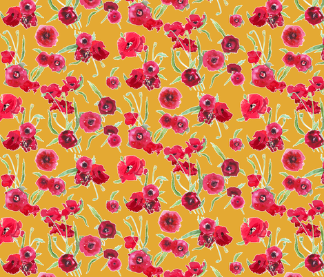poppy floral yellow contour fabric by katarina on Spoonflower - custom fabric