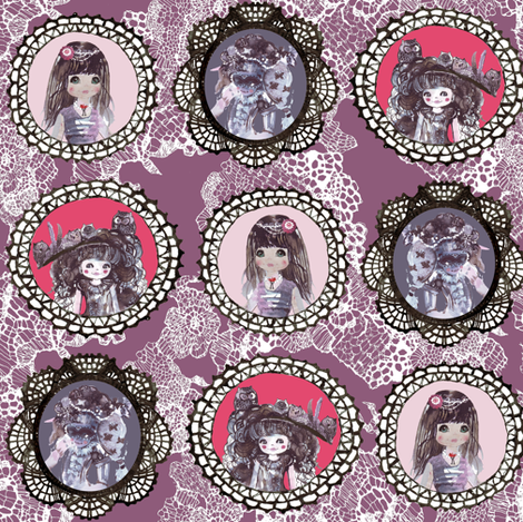 watercolor wonderland girls cameo in purple on lacy background fabric by katarina on Spoonflower - custom fabric