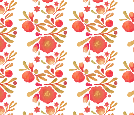 Granada Floral_crimson fabric by bee&lotus on Spoonflower - custom fabric