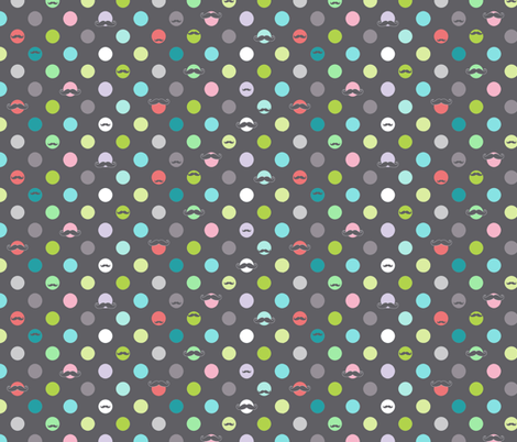 happy mustache dots fabric by katarina on Spoonflower - custom fabric