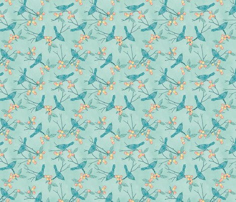 Birds and Berries fabric by cjldesigns on Spoonflower - custom fabric