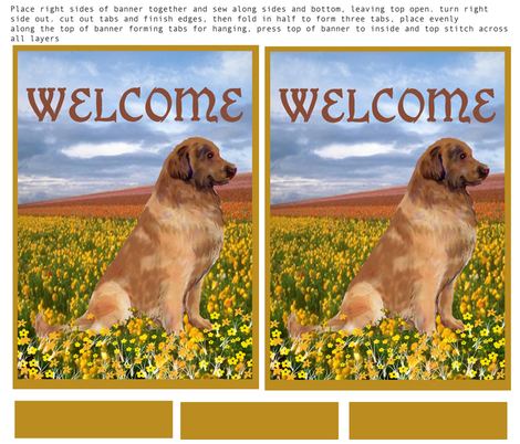 Leonberger double sided Yard flag or welcome banner fabric by dogdaze_ on Spoonflower - custom fabric