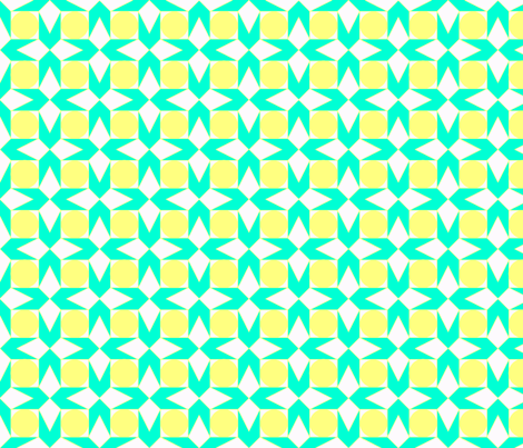 octagon spot (aqua & lemon) fabric by wednesdaysgirl on Spoonflower - custom fabric