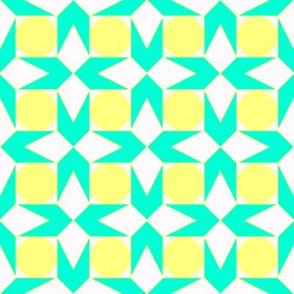octagon spot (aqua & lemon)