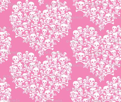 Skull Heart Large White On Pink