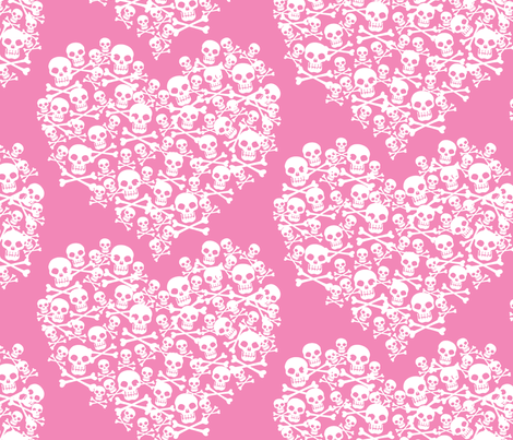 Skull Heart Large White On Pink fabric by ophelia on Spoonflower - custom fabric