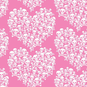 Skull Heart Large White On Pink