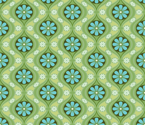 Daisy in Sea of Green fabric by bradbury_&_bradbury on Spoonflower - custom fabric