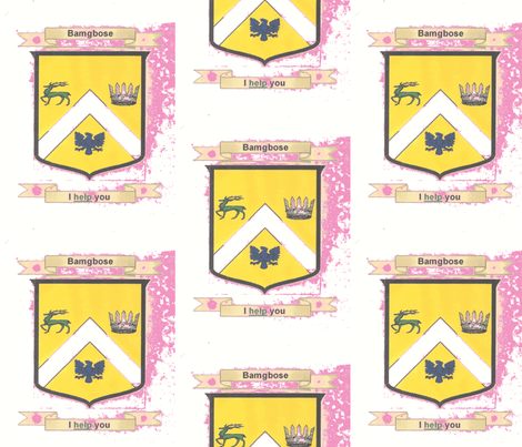 Bamgbose_Family_Crest_001-chwith pink background fabric by nancy_jean_bryant on Spoonflower - custom fabric