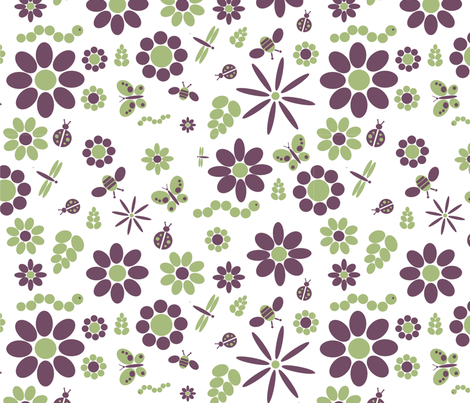 Flowers and bugs fabric by nicholeann on Spoonflower - custom fabric