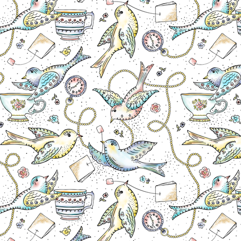 Twittering Tea Party  fabric by heatherdutton on Spoonflower - custom fabric