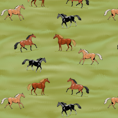 Horses Coming and Going small fabric by khowardquilts on Spoonflower - custom fabric