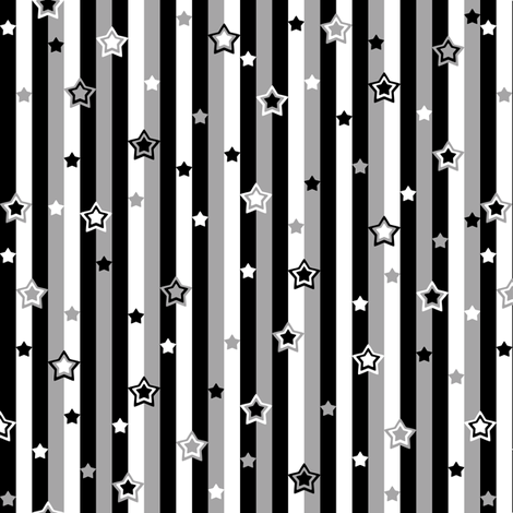 Starry Starry Stripes Grey fabric by modgeek on Spoonflower - custom fabric