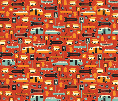 Happy Camper fabric by jennartdesigns on Spoonflower - custom fabric