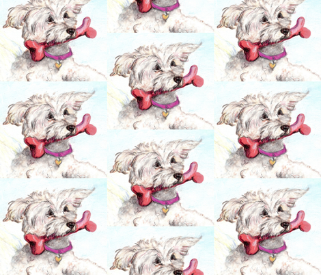 DOG WITH BONE-ed fabric by cfishdesign on Spoonflower - custom fabric