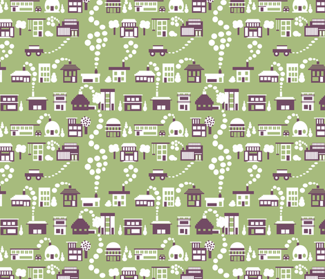 Little House Geometry fabric by tallulahdahling on Spoonflower - custom fabric