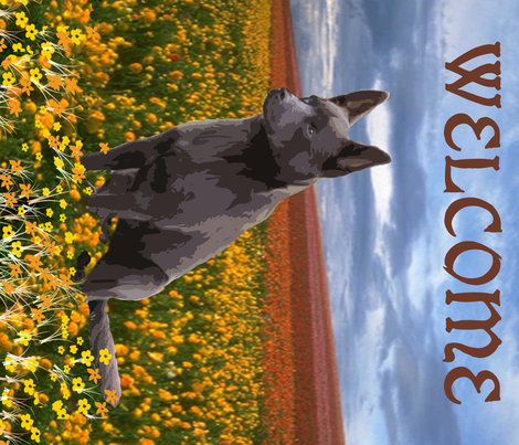 Australian Kelpie Yard Flag or House Banner fabric by dogdaze_ on Spoonflower - custom fabric