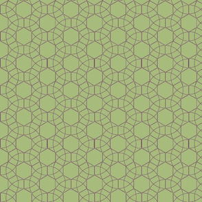 Circles_and_Hexagons_green_back_plum_lines