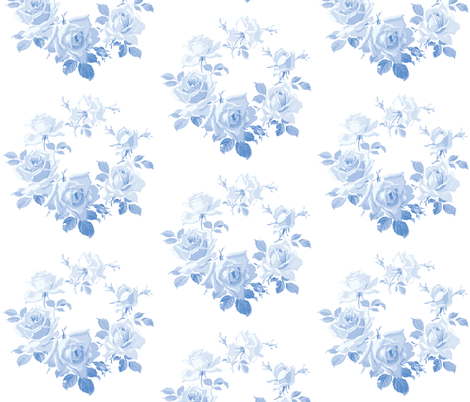 Blue Rose Wreath in Blueberry Blue fabric by lilyoake on Spoonflower - custom fabric