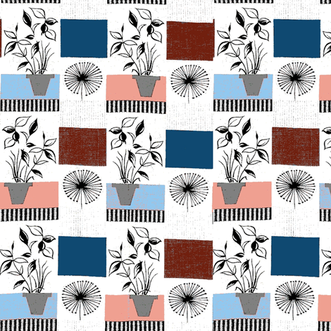 flowerpots_1954_designed_by_Tom_Mellors__altered_colors__modified fabric by vinkeli on Spoonflower - custom fabric